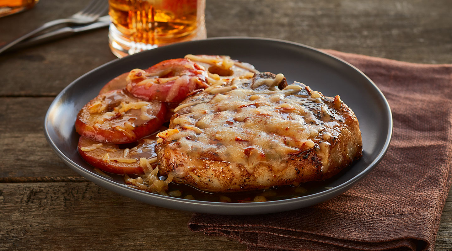 Wisconsin Cheese Apple-Cheddar Pork Chops Recipe