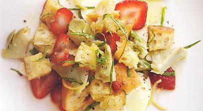 artichoke and strawberry panzanella