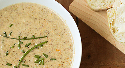 Beer Cheese Soup with Mushrooms