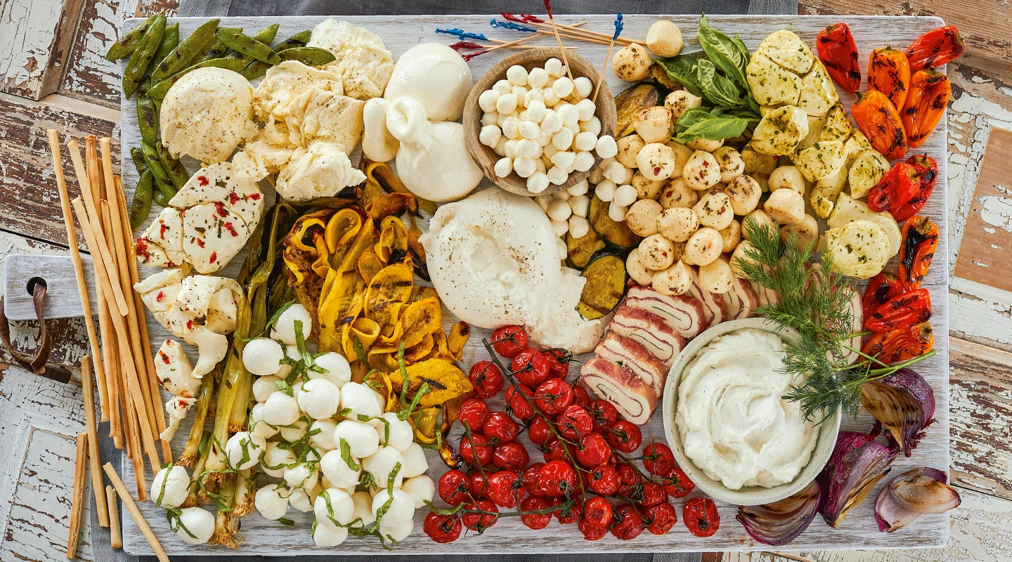 Wisconsin Cheese Fresh Cheeseboard with Grilled Veggies Recipe