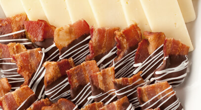 Chocolate-Covered Bacon Bites with Cheddar Cheese