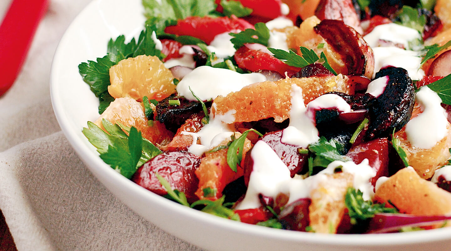 Wisconsin Cheese Roasted Beets-Citrus Salad with Quark Dressing  recipe