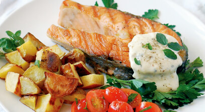 Grilled Salmon Steaks with Gouda Mornay Sauce