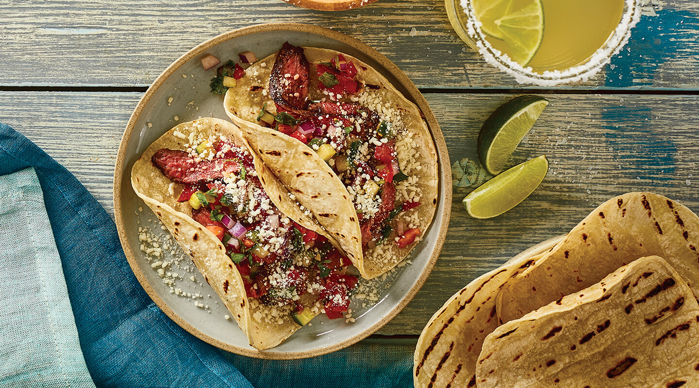 Wisconsin Cheese Grilled Steak and Cotija Salsa Tacos Recipe