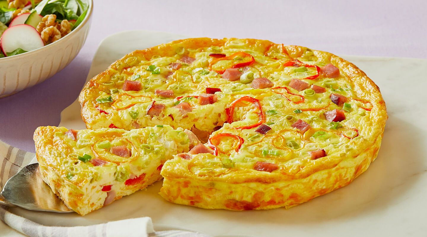 Wisconsin Cheese Ham and Colby Crustless Quiche  recipe