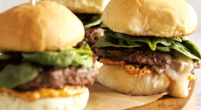 Juicy Lucy Sliders with Provolone and Sun-Dried Tomato Pesto