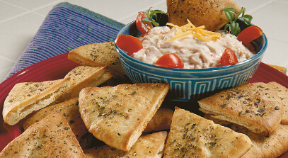 Spicy Cheese and Veggie Dip with Pita Triangles