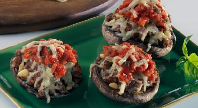 Pesto Jack Stuffed Mushrooms with Tomato Concassé