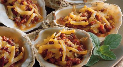 Smoked Gouda-Baked Oysters and Chorizo