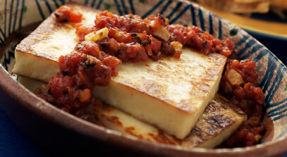 Queso Blanco with Roasted Tomato Sauce
