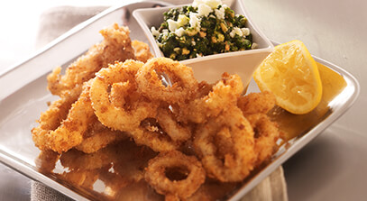 Fried Squid with Feta Cheese, Almond and Arugula Pesto