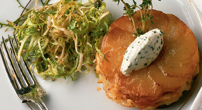 potato tatin with brie and prosciutto
