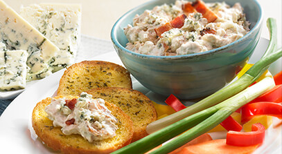 browned garlic and blue cheese spread