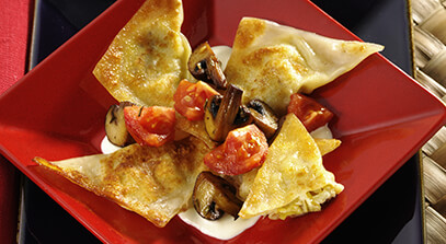 Three-Cheese and Artichoke Potstickers