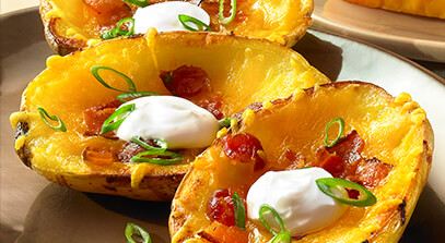 cheddar-stuffed potato skins