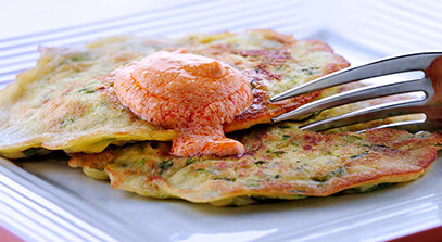 Zucchini Griddle Cakes with Harissa-Whipped Feta