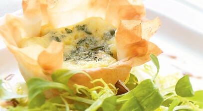 Cheese Tart with Apple-Walnut Salad
