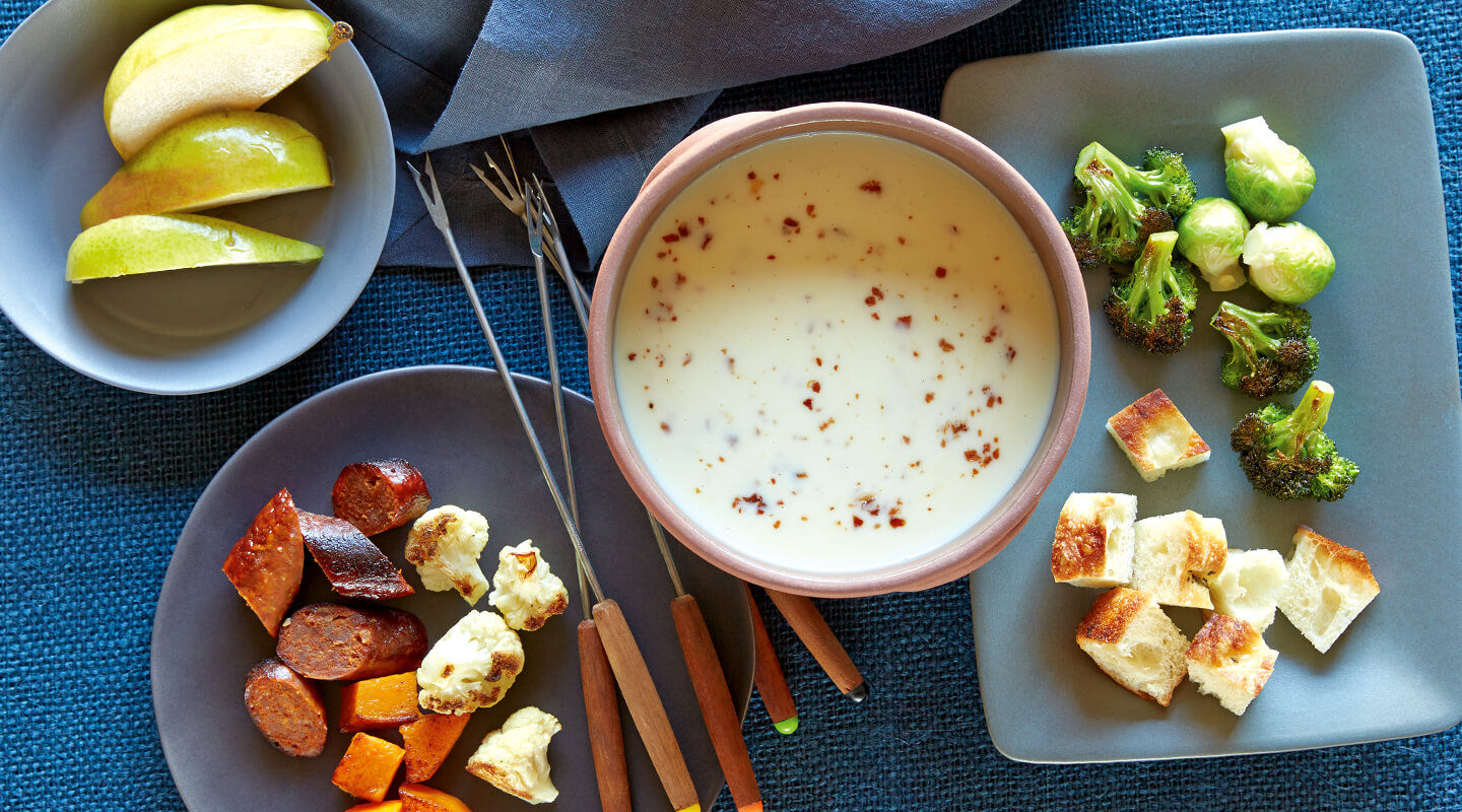 Fontina, Swiss and Pancetta Fondue