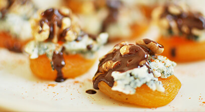 spicy, crunchy, cheesy chocolate-drizzled apricots