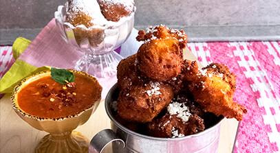 Sweet and Savory Mardi Gras Ricotta Fritters