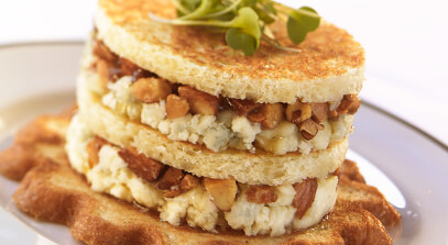 Blue Cheese Napoleons with Honey, Almonds and Figs
