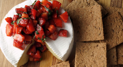 warm brie with strawberry, basil and balsamic salsa