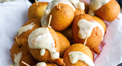 Mini Brat Corn Dogs with Cheddar Beer Sauce