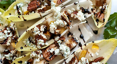Endive Boats with Pears, Wisconsin Blue and Pecans