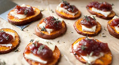 Sweet Potato Rounds with Brie