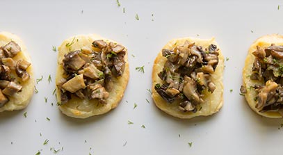 Parmesan Crisps with Mushroom Topping