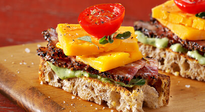 Cheddar, Bacon and Tomato Toasts with Avocado Spread