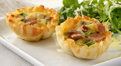 Mini Asiago Cheese, Ham and Scallion Quiches