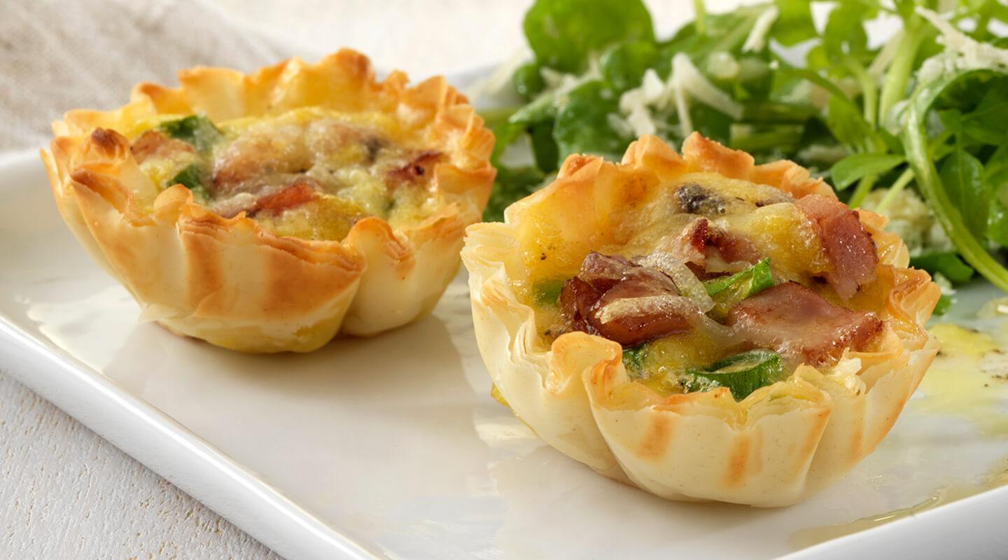 Wisconsin Cheese Mini Asiago Cheese, Ham and Scallion Quiches Recipe