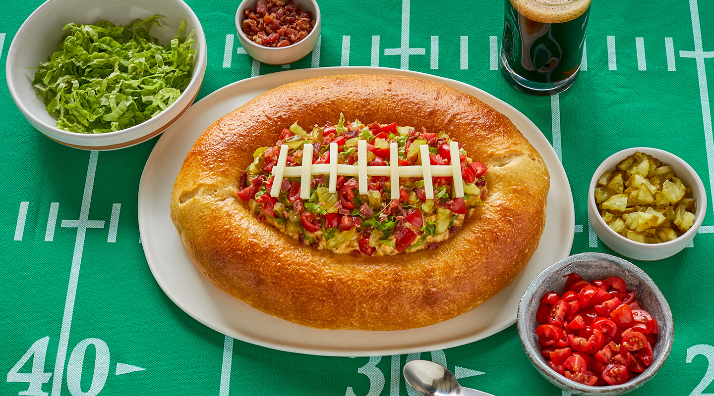 Bacon Cheeseburger Football Dip