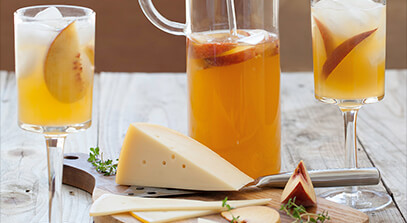 peach sangria and gouda