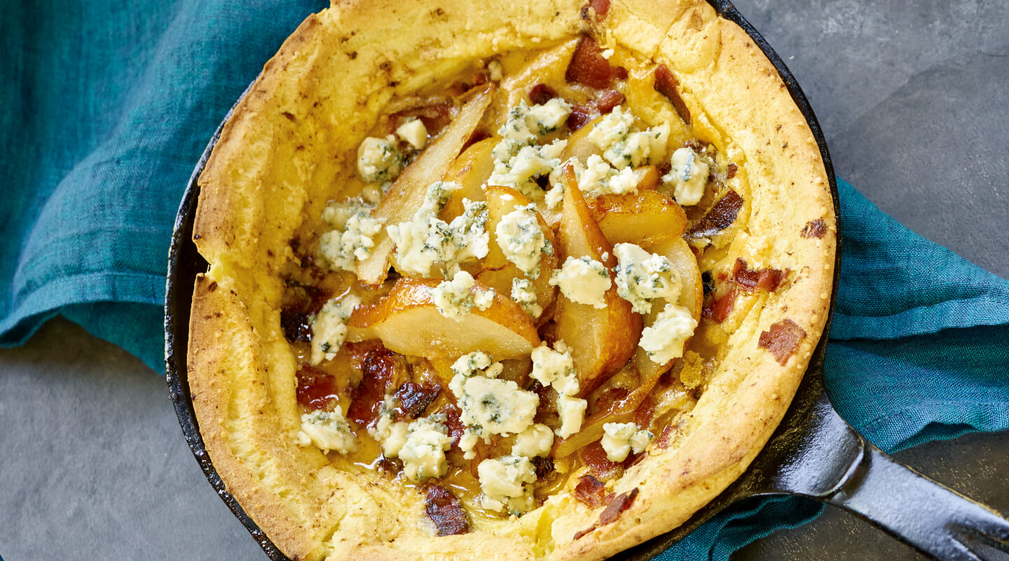 Bacon-Blue Dutch Baby with Pears