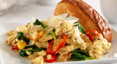 Soft Scrambled Eggs with Mascarpone, Spinach and Parmesan