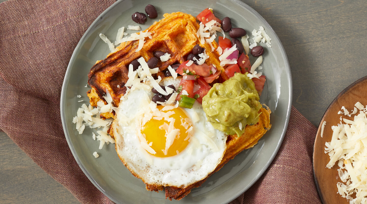 Wisconsin Cheese Gouda Sweet Potato Waffles Recipe