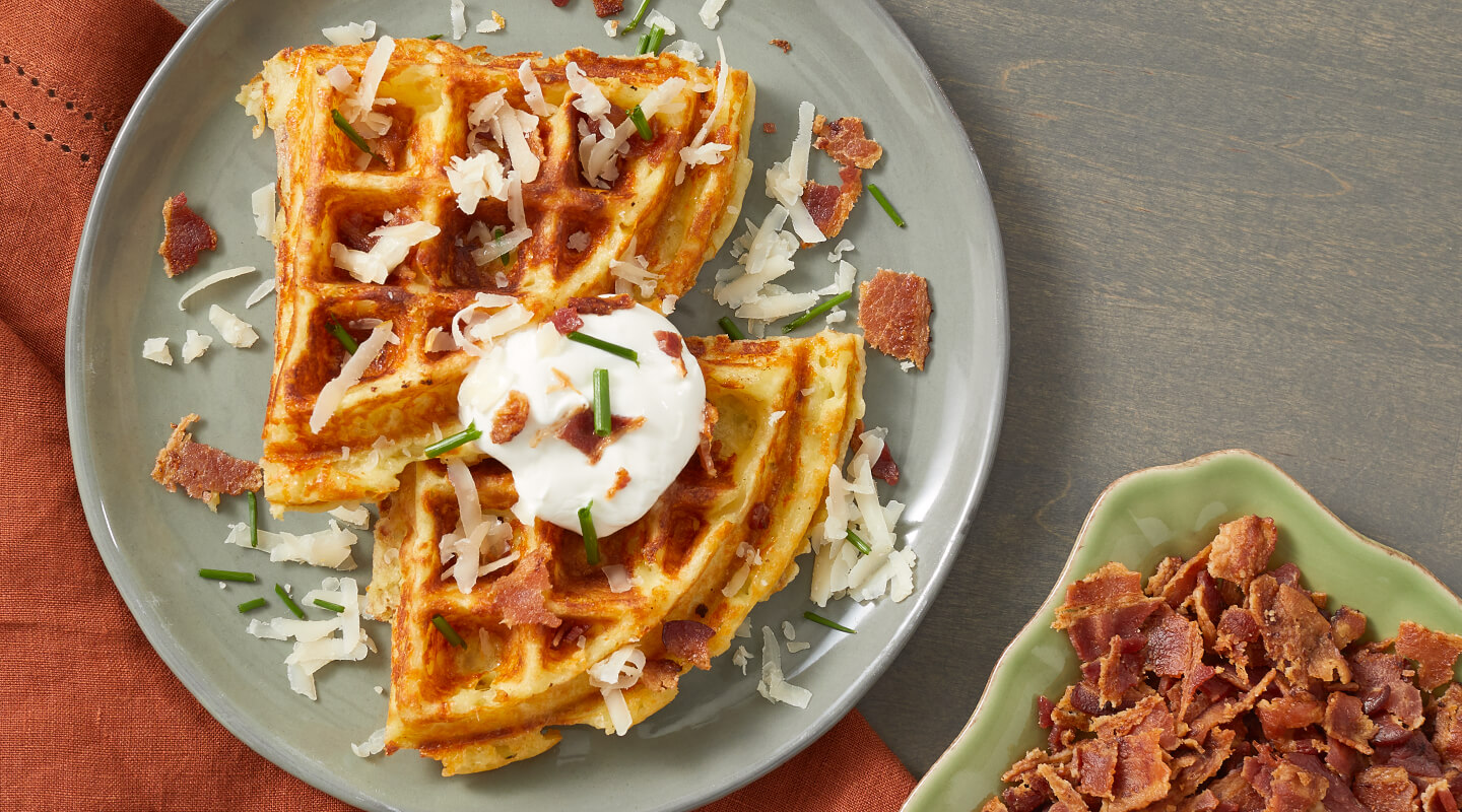 Wisconsin Cheese Gouda Mashed Potato Waffles Recipe