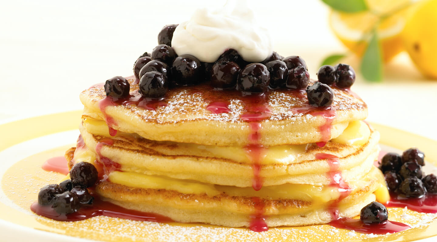 Wisconsin Cheese Lemon-Ricotta Pancakes with Warm Blueberry Compote recipe