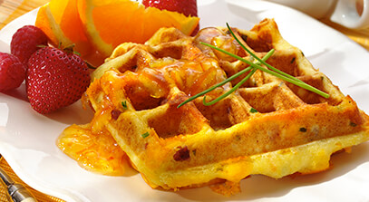 Cheddar, Ham and Chive Waffles