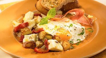 Rustic Eggs with Serrano Ham, Piquillo Peppers and Fresh Mozzarella