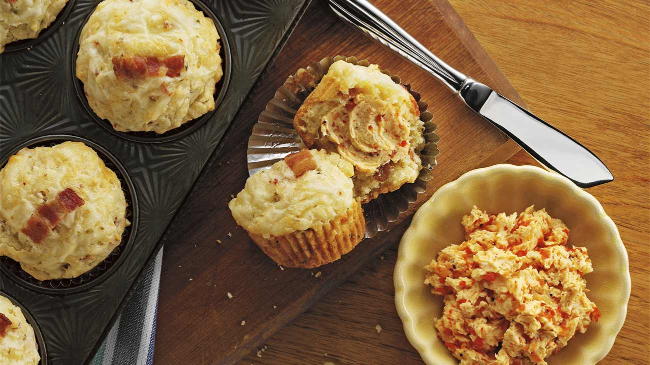 pepper jack and bacon muffins with red pepper butter