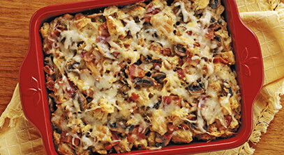 Swiss and Croissant Casserole with Bacon and Mushrooms