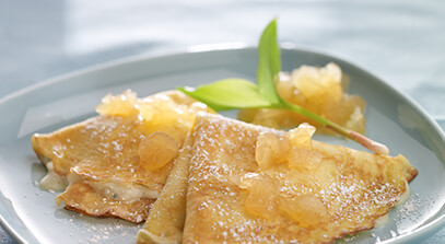 Mascarpone Blue Cheese Crespelle with Pan Roasted Honey Crisp Apple Jam