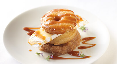 brie with crispy apple fritters, salted caramel and apple butter