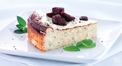 Gorgonzola Cheesecake with Dried Strawberries