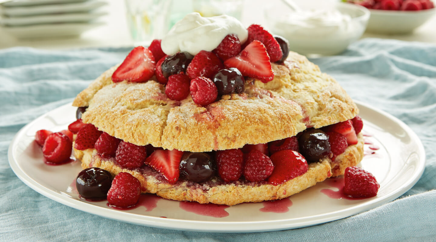 Wisconsin Cheese Ricotta Shortcake with Cherry-Berry Sauce Recipe