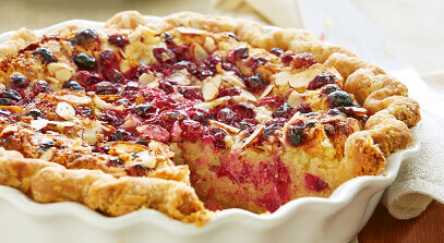 cheddar almond cream pie with cranberry almond streusel