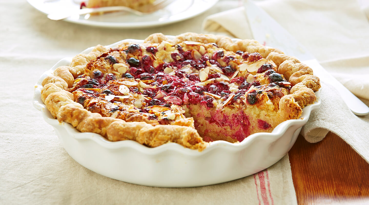 Wisconsin Cheese Cheddar-Almond Pie with Cranberry Streusel recipe